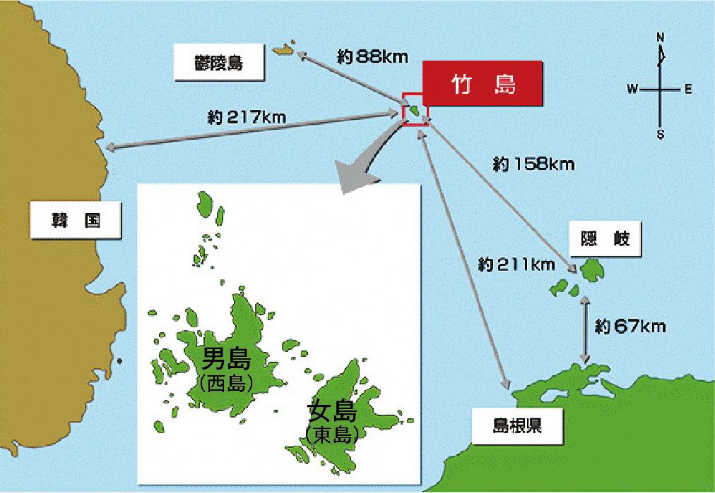 竹島の位置の地図画像